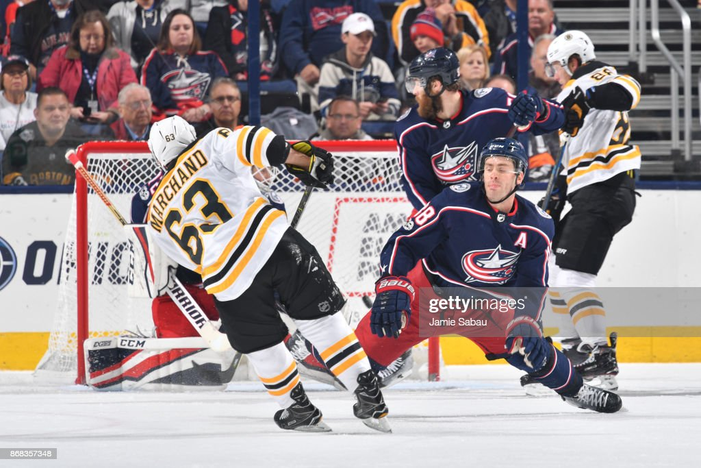 Brad Marchand #63 of the Boston Bruins scores his 200th career NHL goal on goaltender Sergei Bobrovsky #72 of the Columbus Blue Jackets during the third period of a game on October 30, 2017 at Nationwide Arena in Columbus, Ohio.