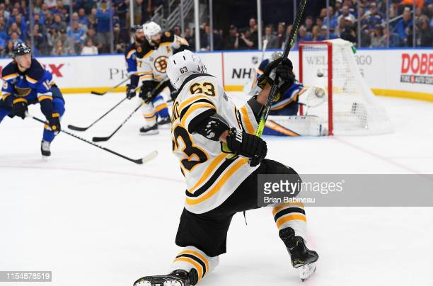 Brad Marchand of the Boston Bruins shoots a one-timer for a goal during the first period of Game Six of the 2019 NHL Stanley Cup Final at Enterprise...