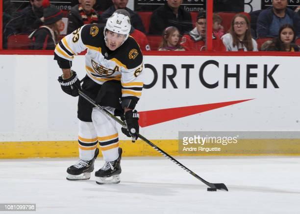 Brad Marchand of the Boston Bruins skates against the Ottawa Senators at Canadian Tire Centre on December 9 2018 in Ottawa Ontario Canada