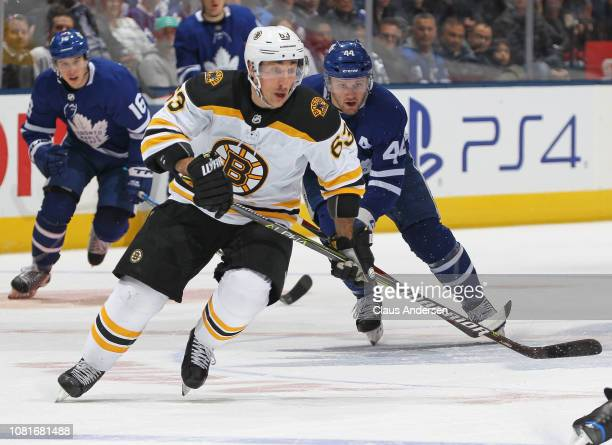 Brad Marchand of the Boston Bruins skates against the Toronto Maple Leafs during an NHL game at Scotiabank Arena on January 12 2019 in Toronto...