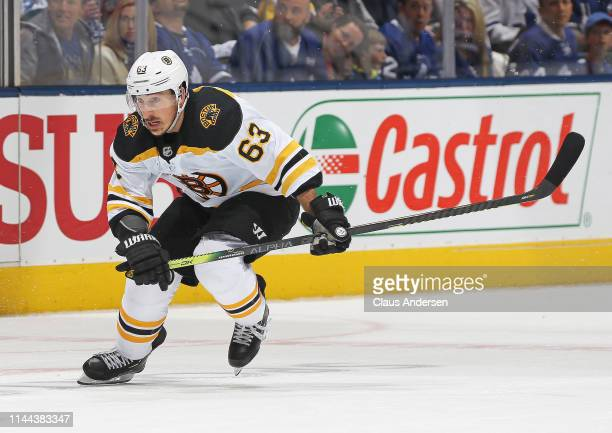 Brad Marchand of the Boston Bruins skates against the Toronto Maple Leafs in Game Six of the Eastern Conference First Round during the 2019 NHL...