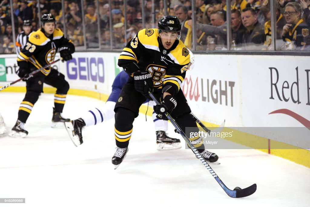 Brad Marchand #63 of the Boston Bruins skates against the Toronto Maple Leafs during the second period of Game Two of the Eastern Conference First Round during the 2018 NHL Stanley Cup Playoffs at TD Garden on April 14, 2018 in Boston, Massachusetts.