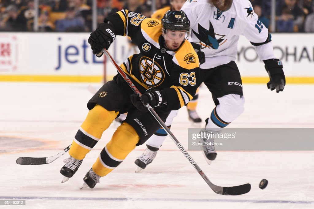 Brad Marchand #63 of the Boston Bruins skates with the puck against the San Jose Sharks at the TD Garden on February 9, 2017 in Boston, Massachusetts.