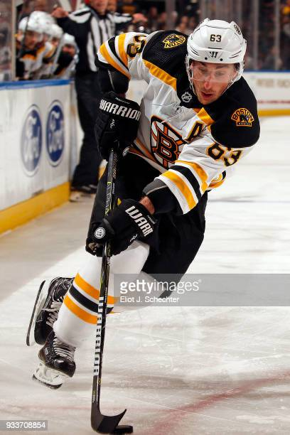 Brad Marchand of the Boston Bruins skates with the puck against the Florida Panthers at the BBT Center on March 15 2018 in Sunrise Florida Brad...