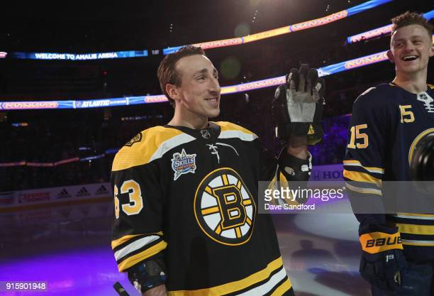 Brad Marchand of the Boston Bruins stands on the ice before the 2018 GEICO NHL AllStar Skills Competition at Amalie Arena on January 27 2018 in Tampa...