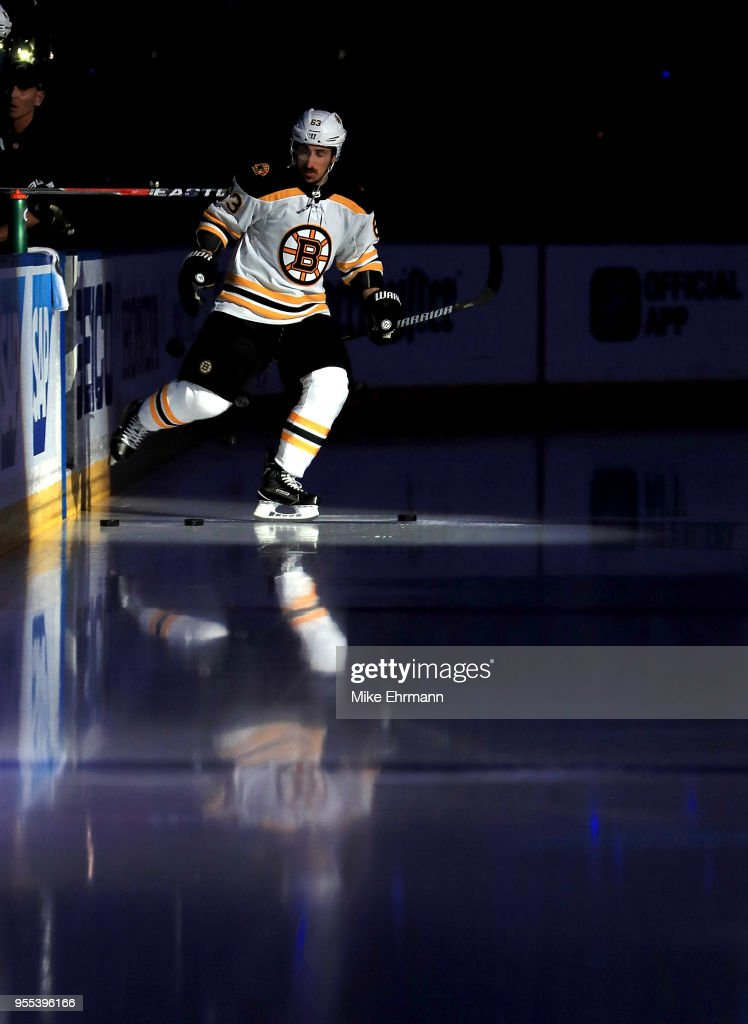Brad Marchand #63 of the Boston Bruins takes the ice during Game Five of the Eastern Conference Second Round against the Tampa Bay Lightning during the 2018 NHL Stanley Cup Playoffs at Amalie Arena on May 6, 2018 in Tampa, Florida.