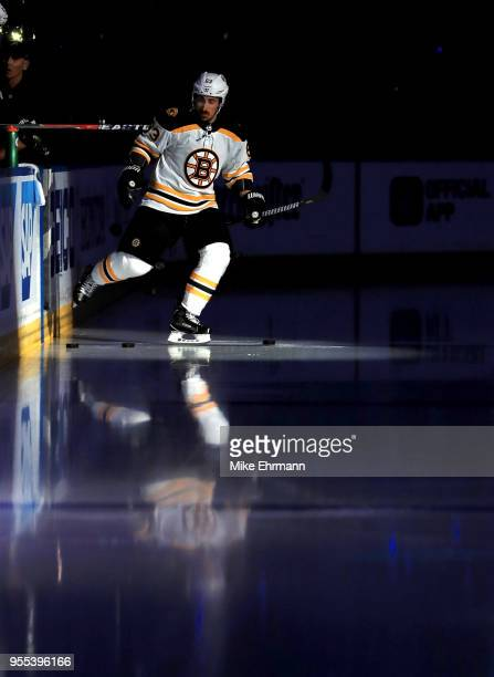 Brad Marchand of the Boston Bruins takes the ice during Game Five of the Eastern Conference Second Round against the Tampa Bay Lightning during the...