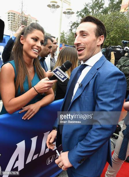 Brad Marchand of the Boston Bruins walks the red carpet prior to playing in the 2018 Honda NHL AllStar Game at Amalie Arena on January 28 2018 in...