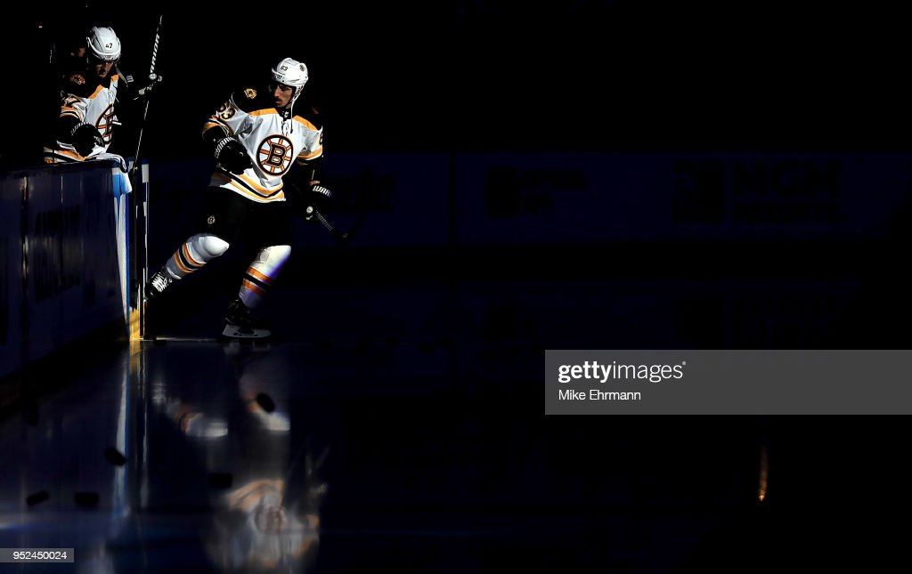Brad Marchand #63 of the Boston Bruins warms up during Game One of the Eastern Conference Second Round against the Tampa Bay Lightning during the 2018 NHL Stanley Cup Playoffs at Amalie Arena on April 28, 2018 in Tampa, Florida.