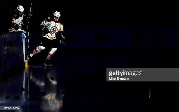 Brad Marchand of the Boston Bruins warms up during Game One of the Eastern Conference Second Round against the Tampa Bay Lightning during the 2018...