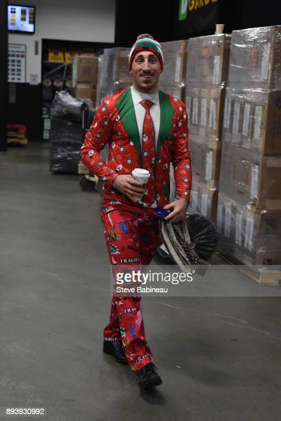 Brad Marchand of the Boston Bruins wearing a holiday suit before the game against the New York Rangers at the TD Garden on December 16 2017 in Boston...