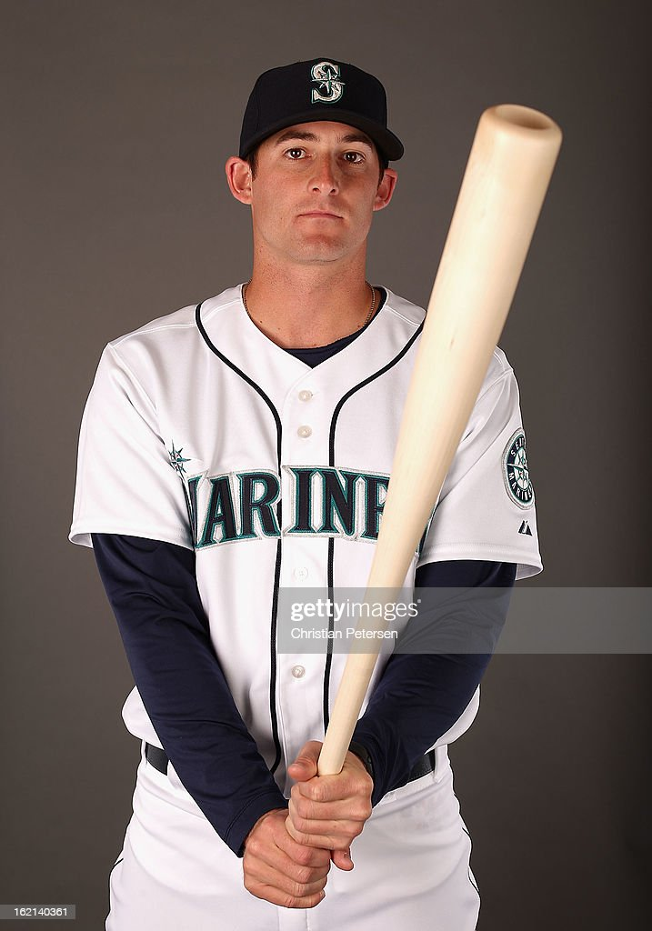 Brad Miller #77 of the Seattle Mariners poses for a portrait during spring training photo day at Peoria Stadium on February 19, 2013 in Peoria, Arizona.
