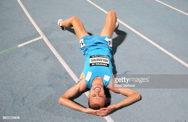 Brad Milosevic of New South Wales reacts after running the Mens 10000 Meter Run Open Zatopek race during Zatopek 10 at Lakeside Stadium on December...