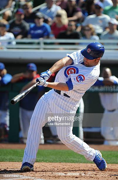 Brad Nelson of the Chicago Cubs bats against the Cleveland Indians at HoHoKam Park on March 4 2013 in Mesa Arizona
