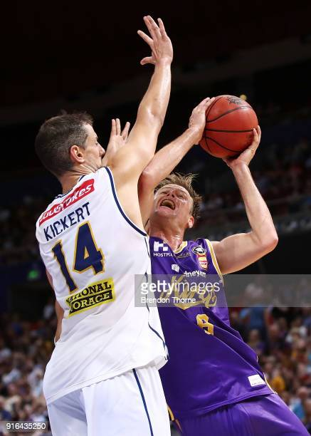 Brad Newley of the Kings competes with Daniel Kickert of the Bullets during the round 18 NBL match between the Sydney Kings and the Brisbane Bullets...