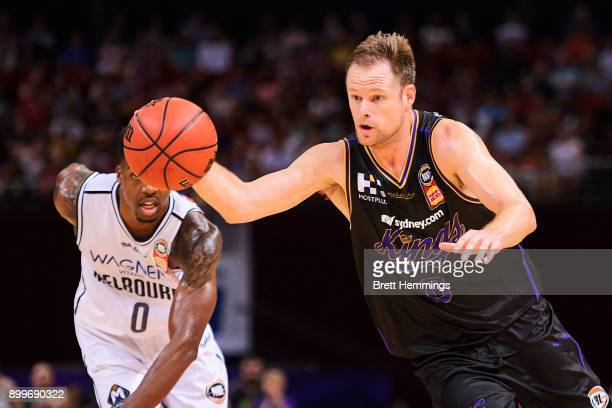 Brad Newley of the Kings controls the ball during the round 12 NBL match between the Sydney Kings and Melbourne United at Qudos Bank Arena on...