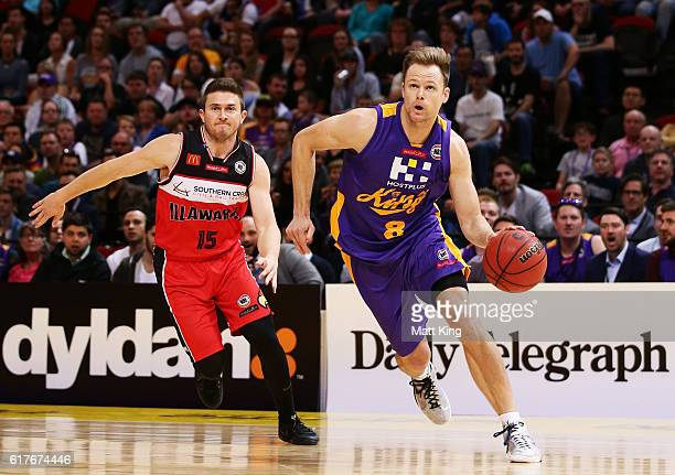 Brad Newley of the Kings controls the ball during the round three NBL match between the Sydney Kings and the Illawarra Hawks at Qudos Bank Arena on...