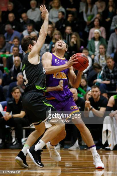 Brad Newley of the Kings drives to the basket during the NBL Blitz pre-season match between Sydney Kings and S.E. Melbourne Phoenix at Devonport...