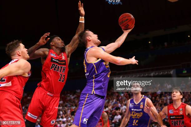 Brad Newley of the Kings drives to the basket during the round 13 NBL match between the Sydney Kings and the Perth Wildcats at Qudos Bank Arena on...