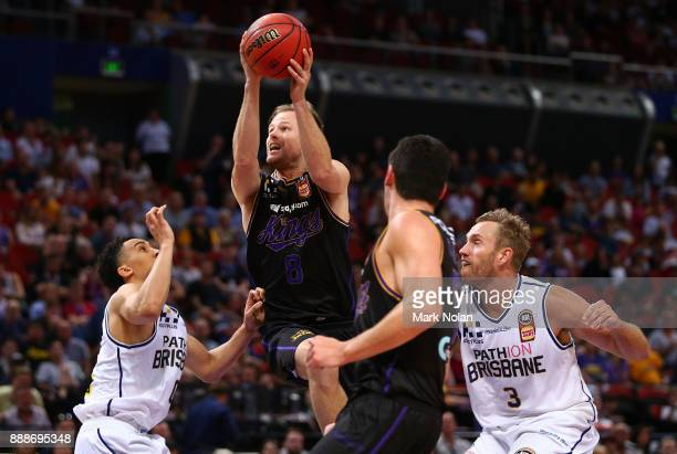 Brad Newley of the KIngs drives to the basket during the round nine NBL match between the Sydney Kings and the Brisbane Bullets at Qudos Bank Arena...