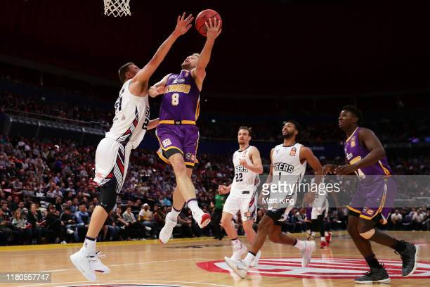 Brad Newley of the Kings drives to the basket during the round two NBL match between the Sydney Kings and the Adelaide 36ers at Qudos Bank Arena on...