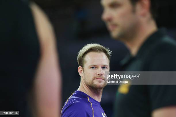Brad Newley of the Kings looks across to David Anderson of United in the warm up during the round nine NBL match between Melbourne United and the...