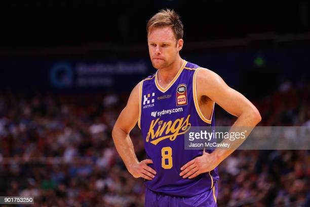 Brad Newley of the Kings looks on during the round 13 NBL match between the Sydney Kings and the Perth Wildcats at Qudos Bank Arena on January 6 2018...