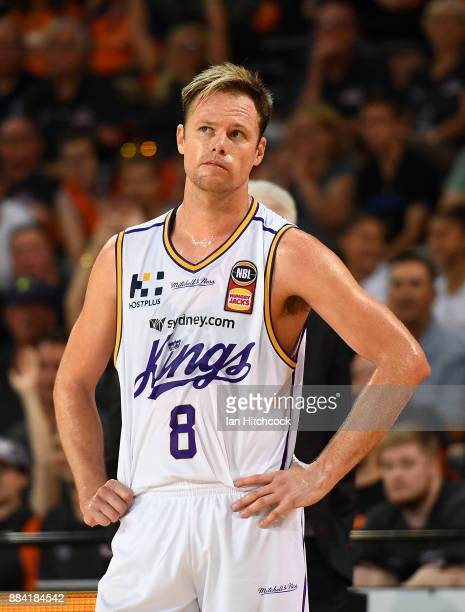 Brad Newley of the Kings looks on during the round eight NBL match between the Cairns Taipans and the Sydney Kings at Cairns Convention Centre on...