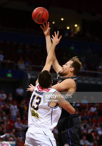 Brad Newley of the KIngs shoots for the basket during the round nine NBL match between the Sydney Kings and the Brisbane Bullets at Qudos Bank Arena...