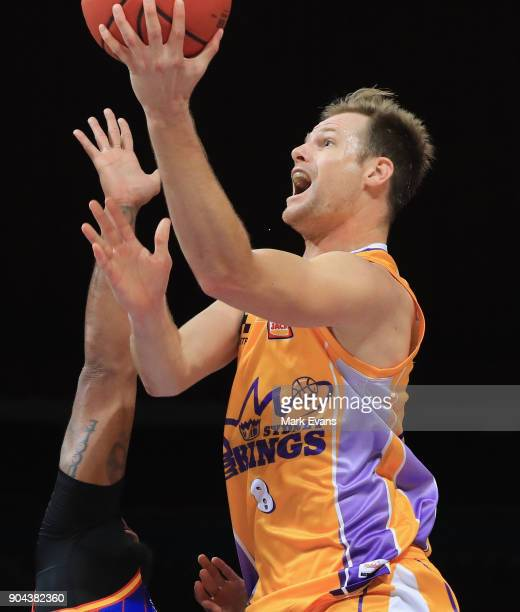 Brad Newley of the Sydney Kings shoots for the basket during the round 14 NBL match between the Sydney Kings and the Adelaide 36ers at Qudos Bank...