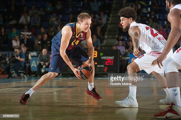Brad Oleson #24 of FC Barcelona in action during the 20142015 Turkish Airlines Euroleague Basketball Regular Season Date 7 game between FC Barcelona...
