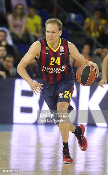 Brad Oleson #24 of FC Barcelona in action during the 20142015 Turkish Airlines Euroleague Basketball Play Off Game 1 between FC Barcelona v...