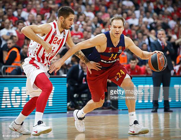 Brad Oleson of Barcelona Lassa in action against Stefan Jovic of Crvena Zvezda during the 2016/2017 Turkish Airlines EuroLeague Regular Season Round...