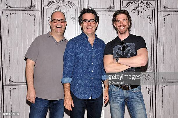 Brad Oscar Brian D'Arcy James and Christian Borle attend AOL BUILD Speaker Series Something Rotten at AOL Studios In New York on September 18 2015 in...