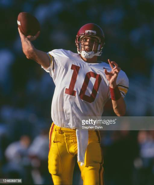 Brad Otton, Quarterback for the University of Southern California USC Trojans throws the ball downfield during the NCAA Pac-10 Conference college...