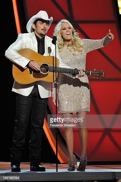 Brad Paisley and Carrie Underwood host the 46th annual CMA awards at the Bridgestone Arena on November 1, 2012 in Nashville, Tennessee.