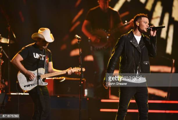 Brad Paisley and Kane Brown perform onstage at the 51st annual CMA Awards at the Bridgestone Arena on November 8 2017 in Nashville Tennessee