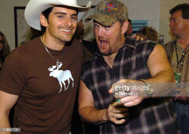 Brad Paisley and Larry the Cable Guy during 2005 CMT Music Awards Backstage at Gaylord Entertainment Center in Nashville Tennessee United States