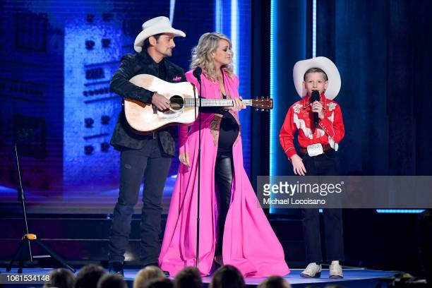 Brad Paisley Carrie Underwood and Mason Ramsey perform onstage during the 52nd annual CMA Awards at the Bridgestone Arena on November 14 2018 in...