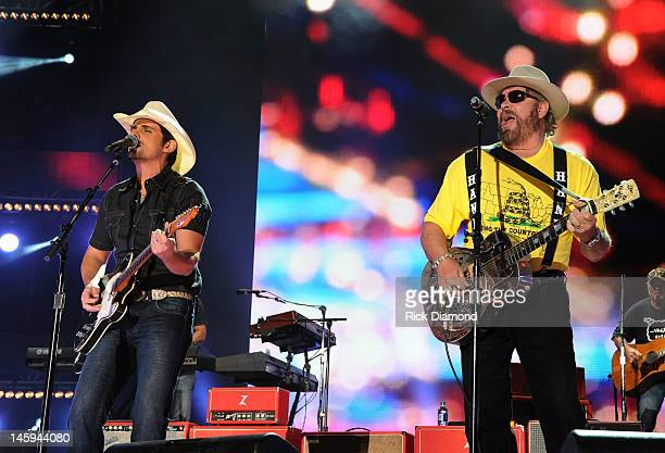 Brad Paisley is joined by special guest Hank Williams Jr during the 2012 CMA Music Festival Day 1 at LP Field on June 7 2012 in Nashville Tennessee