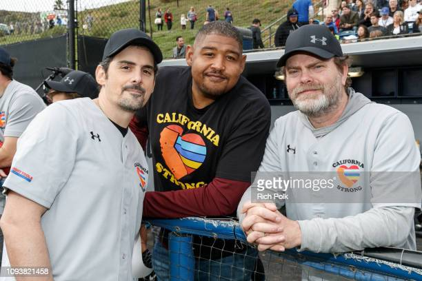 Brad Paisley Omar Benson Miller and Rainn Wilson attend a charity softball game to benefit California Strong at Pepperdine University on January 13...