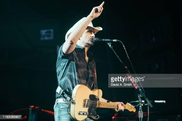 Brad Paisley performs at Oak Mountain Amphitheatre on July 19, 2019 in Birmingham, Alabama.