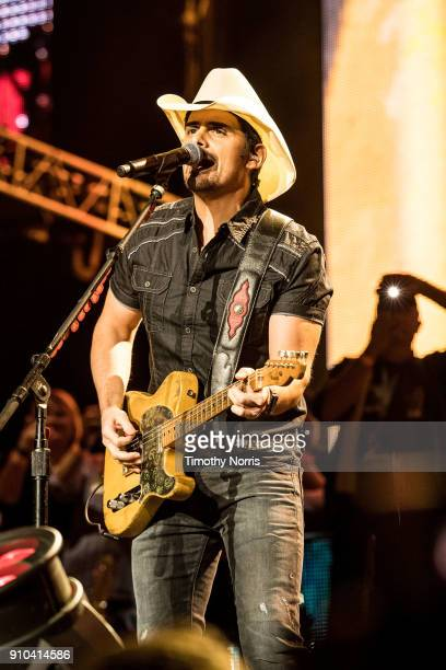 Brad Paisley performs at Staples Center on January 25 2018 in Los Angeles California