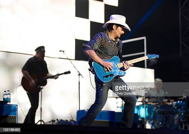 Brad Paisley performs at The Greenbrier Classic Concert Series held at the West Virginia State Fairgrounds during The Greenbrier Classic at The...