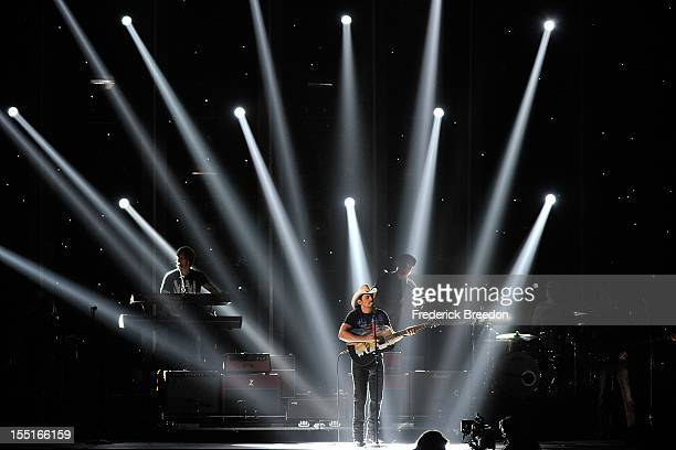 Brad Paisley performs during the 46th annual CMA awards at the Bridgestone Arena on November 1, 2012 in Nashville, Tennessee.