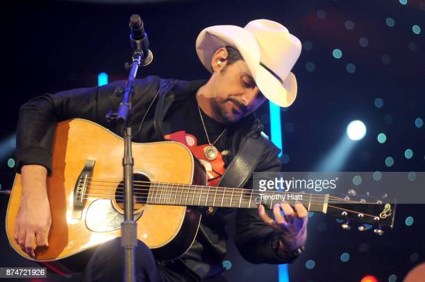 Brad Paisley performs onstage during CBS RADIO's Third Annual 'Stars and Strings' Concert to honor our nation's veterans at Chicago Theatre on...