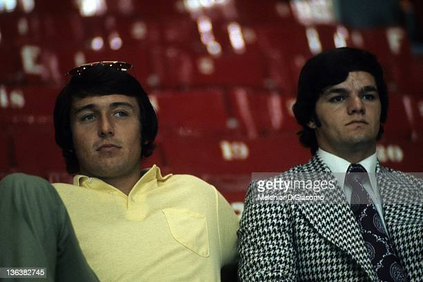 Brad Park and Marcel Dionne of Canada watch the Soviets practice before Game 1 of the 1972 Summit Series on September 1, 1972 at the Montreal Forum...