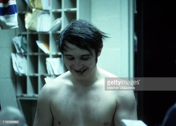 Brad Park of the New York Rangers is intervied in the locker room after an NHL game circa 1972 at the Madison Square Garden in New York New York