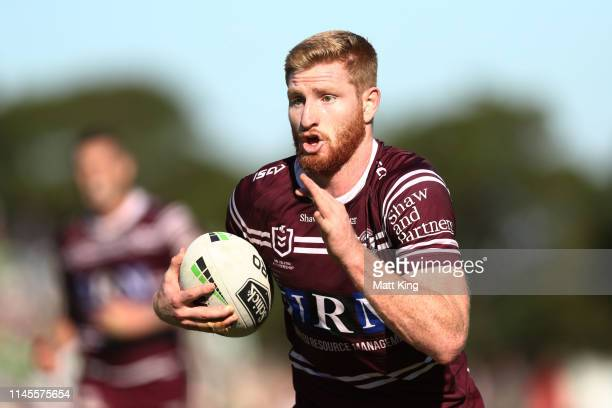 Brad Parker of the Sea Eagles runs with the ball during the round 7 NRL match between the Manly Warringah Sea Eagles and the Canberra Raiders at...
