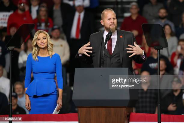 Brad Parscale the campaign manager for President Donald Trump's 2020 reelection campaign speaks while Kayleigh McEnany national press secretary for...